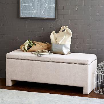 Nailhead Upholstered Storage Bench, Linen Weave, Natural