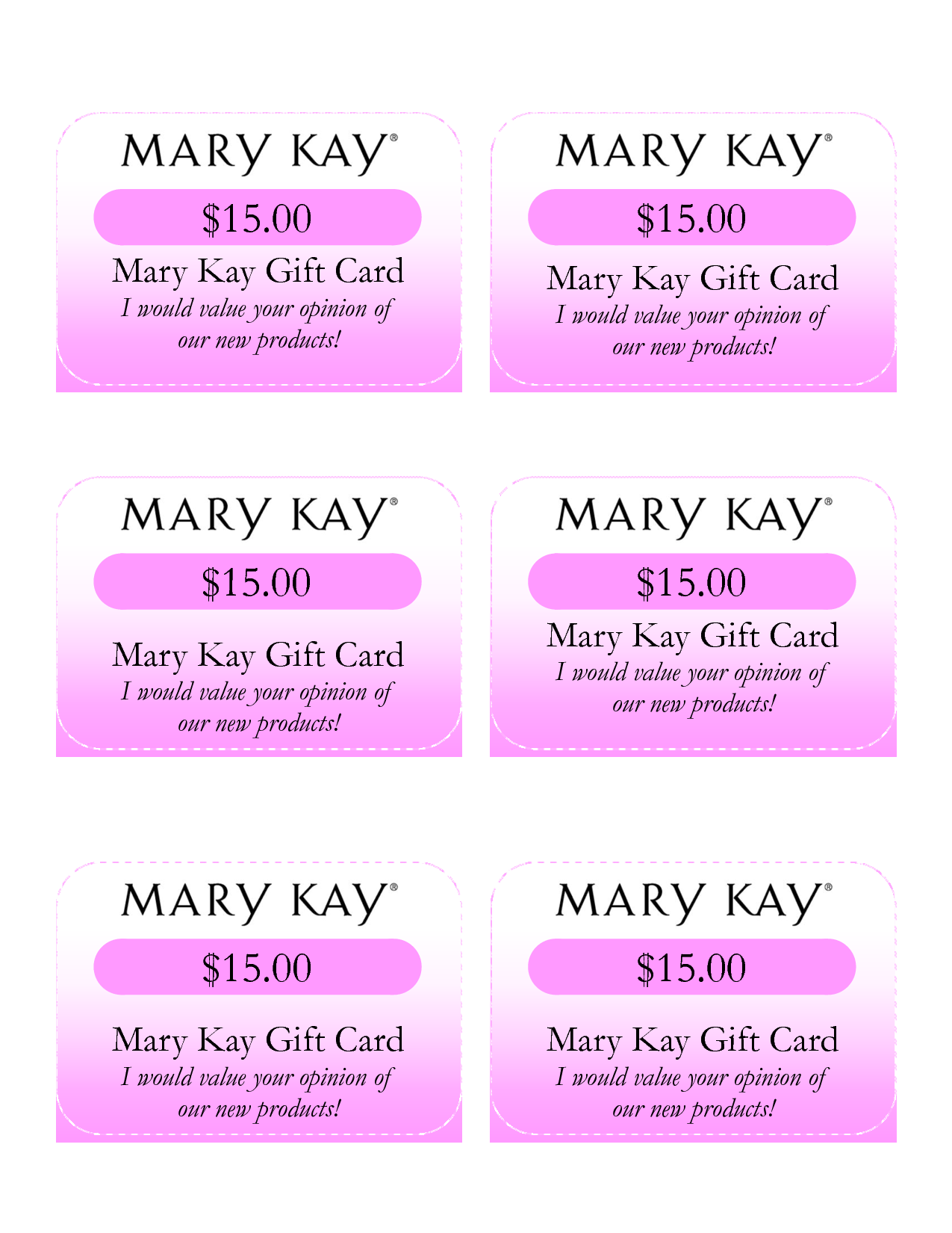 Mary kay $25 gift certificate christmas