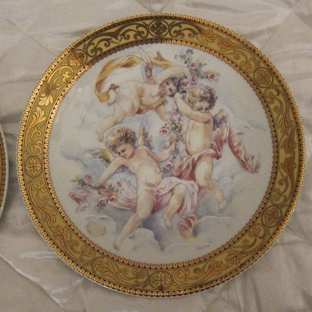 T. Limoges 2 Decorative Plates Nude Cherub 24k Gold Rim Made In Italy \ GORGEOUS\  & T. Limoges 2 Decorative Plates Nude Cherub 24k Gold Rim Made In ...
