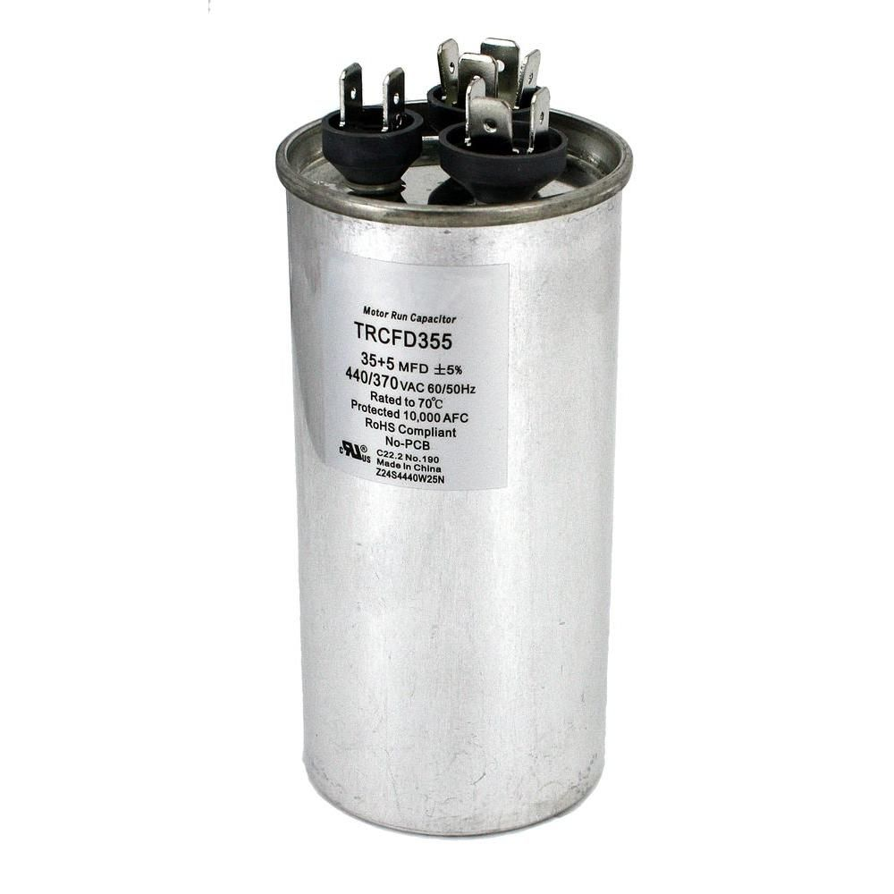 Packard 440 Volt 35 5 Mfd Dual Rated Motor Run Round Capacitor Trcfd355 The Home Depot Capacitor Ac Fan Packard