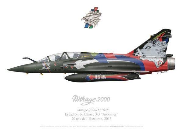 70th anniversary scheme for Dassault Mirage 2000D No648 3/3 Escadron de Chasse (Fighter Squadron) 3/3 Ardennes, 2013.