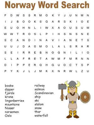 word search puzzle - learn about Norway   Expedition Norway VBS ...