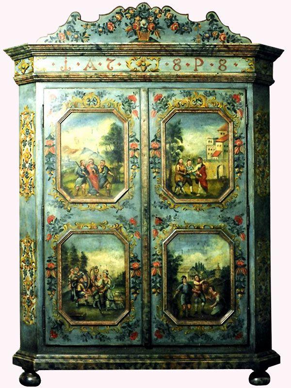 Bemalter Bauernschrank Painting Antique Furniture