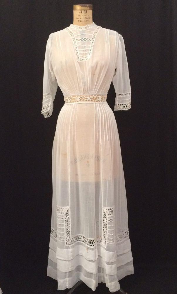 946f729891 Details about Antique 1900s Tea Dress Prairie Cotton Lawn White Lace ...
