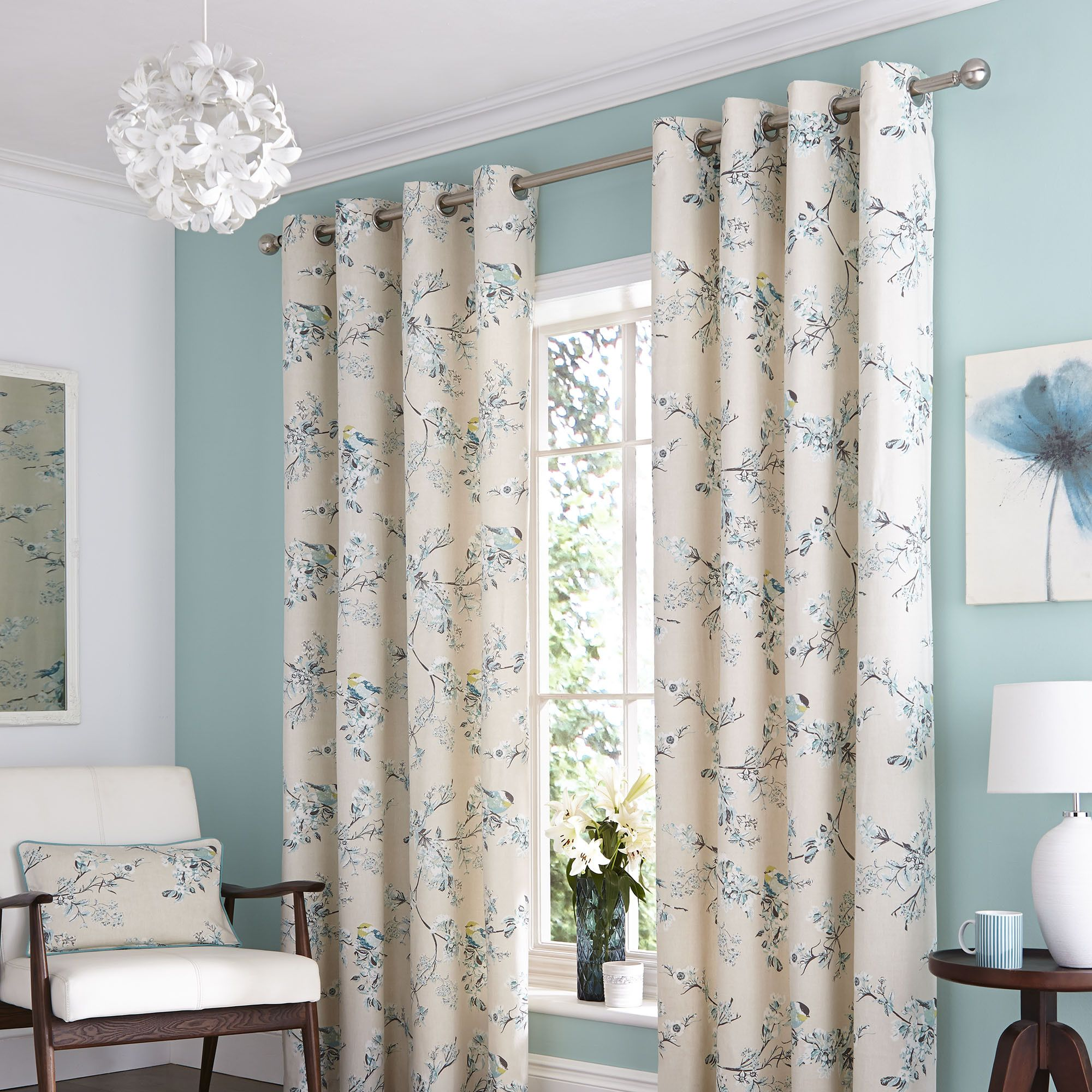 Duck Egg Mila Lined Eyelet Curtains