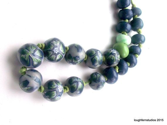 Winter Blue.. Just For You. Polymer Clay Jewelry, Beaded Necklace, Clay Necklace, Statement Necklace, Handmade Jewelry