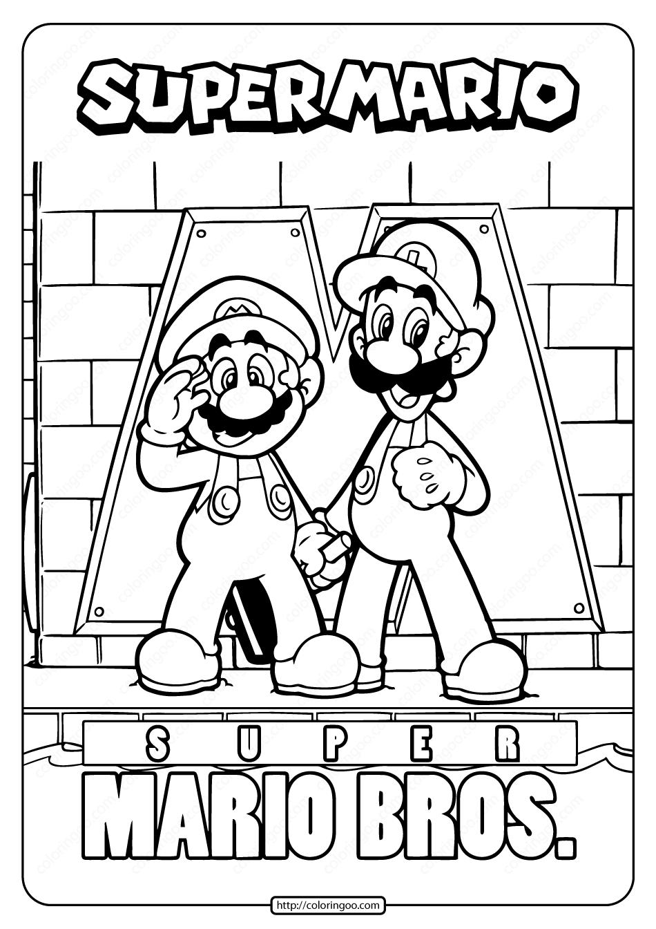 Free Printable Super Mario Bros Coloring Page  Super mario