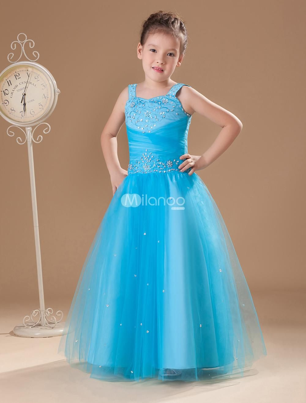 Fabulous Blue Gauze Sweetheart Sweep Train Little Girls Dress ...