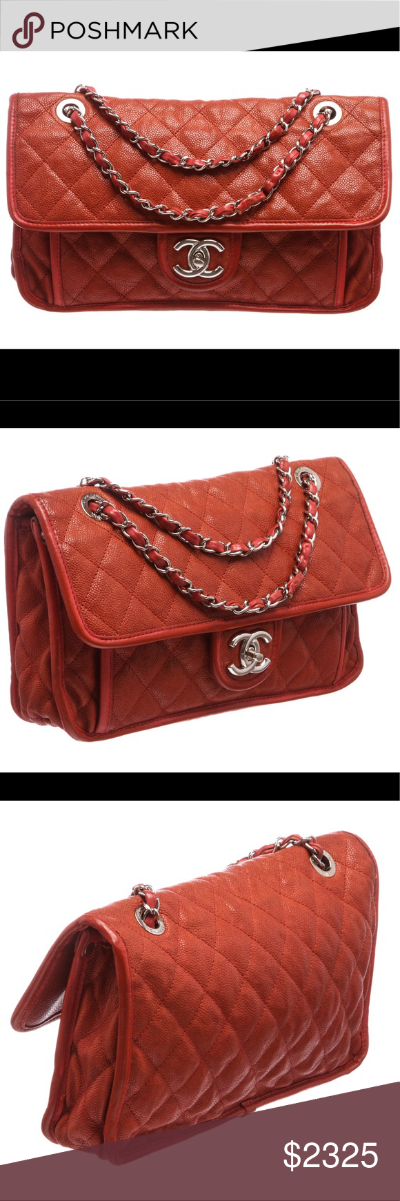 4b0dffaebb8354 Chanel Quilted Caviar Leather French Riviera Bag Brick red quilted soft Caviar  leather Chanel Medium French