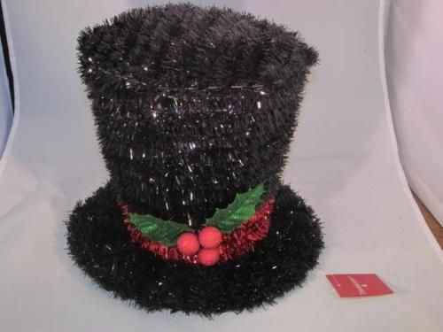 New trimmerry black tinsel garland christmas top hat tree