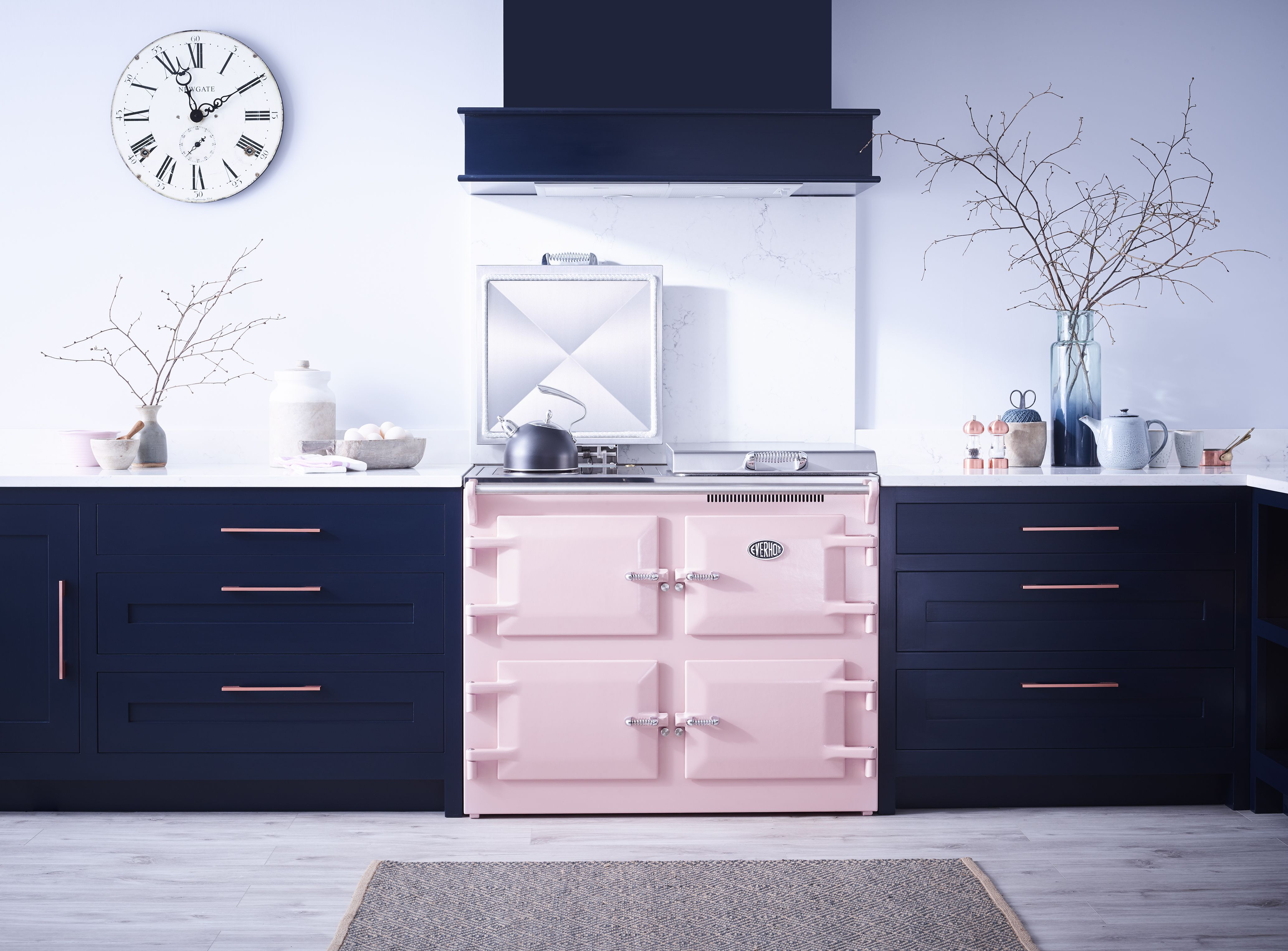 Dusty pink / Blush pink range cooker styled with navy blue