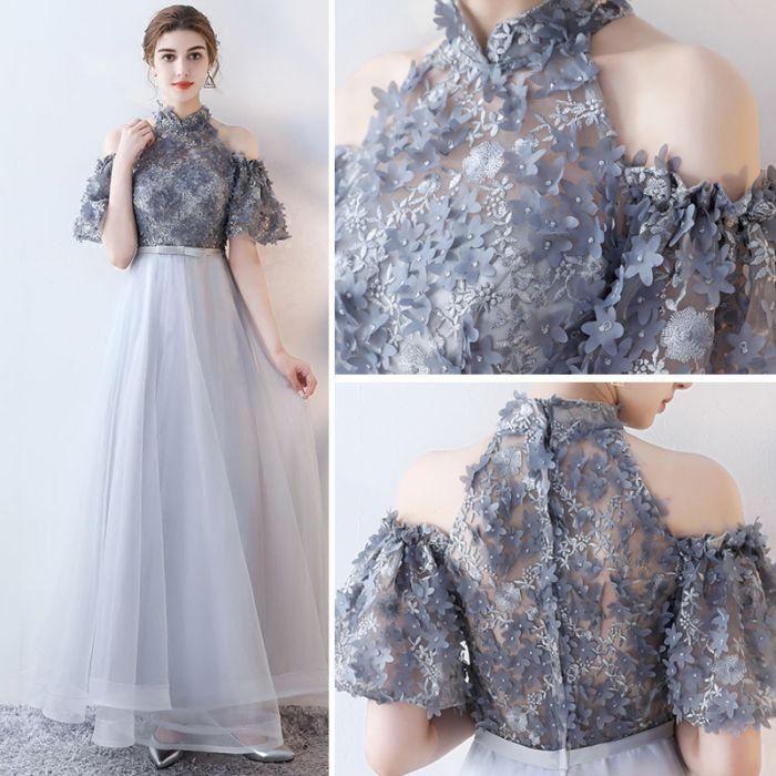 Chic A-line High Neck Tulle Applique Modest Long Prom Dress Evening Dress AM749