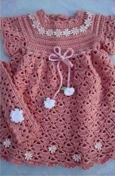 Patrón #1182: Vestido de Bebe a Crochet | CTejidas [Crochet y Dos ...