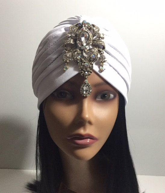 Great Gatsby Black Jeweled Turban Glamour Boho Bohemian Gem Diamond  Luxurious 390bc3003b30