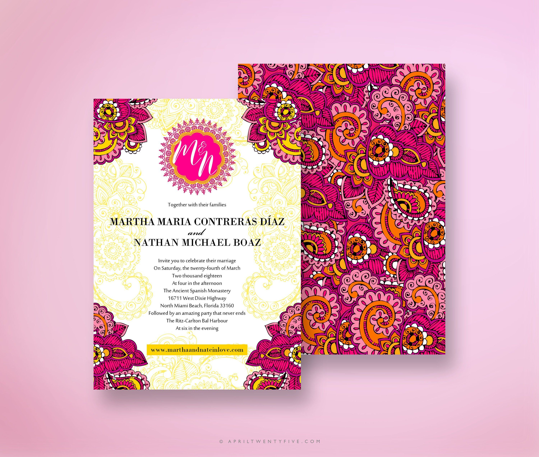 Martha Indian Wedding Invitation Colorful And Festive Pink Etsy Colorful Invitations Wedding Invitation Card Design Indian Wedding Invitations