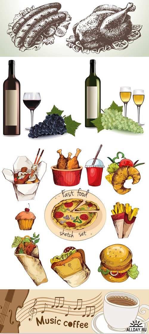 Сборник еды и напитков в векторе