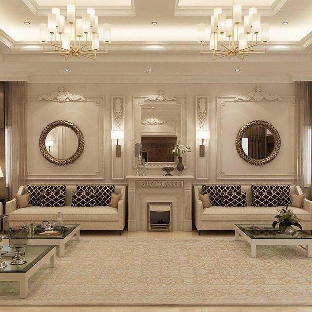 مجلس رجال كلاسيكي جديد من أعمال Shaimaa Ramadan تصميم داخلي السعودية ديكورات الامارات الكوي Home Room Design Living Room Decor Modern Luxury Living Room