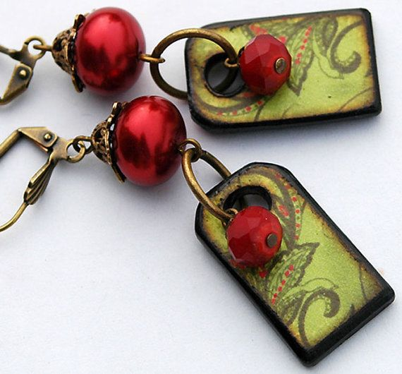 Christmas Red Green Earrings   Holly Berry by shalayneoriginals, $38.99