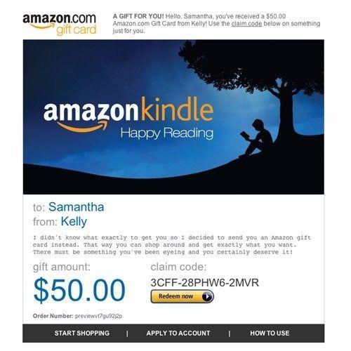 Amazon Gift Card E Mail Amazon Kindle 50 00 Best Gift Cards Buy Gift Cards Online Amazon Gift Card Free