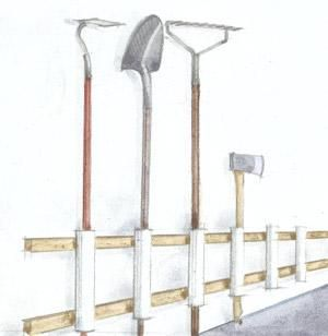 Ordinaire Garden Tool Holder Screw 12 Inch PVC Pipes To Two Furring Strips Nailed To  A Garage Wall. Place Shovels, Rakes, Hoes, And Other Garden Tools In The  PVC ...
