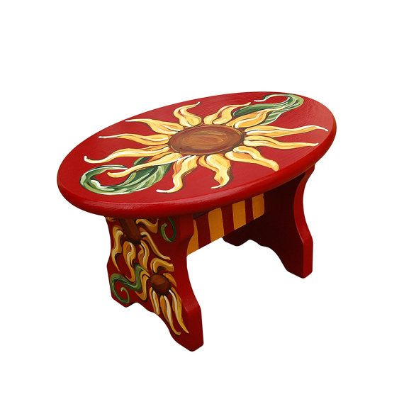 Tuscan Sunflower Hand Painted Stool  12.5L X 8.75W X by RustiLee