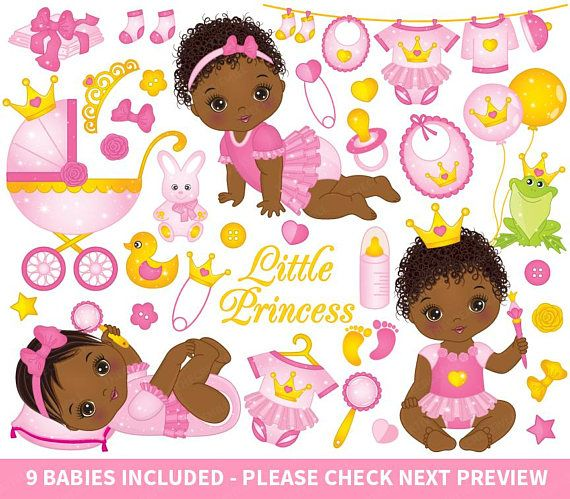 Baby Girl Clipart Vector Princess Clipart Baby Clipart Newborn