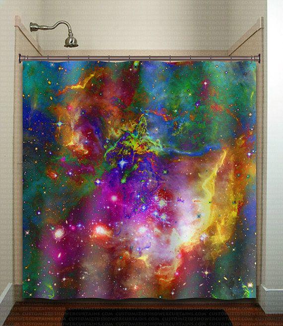 Nebula planets outer space galaxy shower curtain extra long fabric window panel kids bathroom decor custom valance bathmat towel