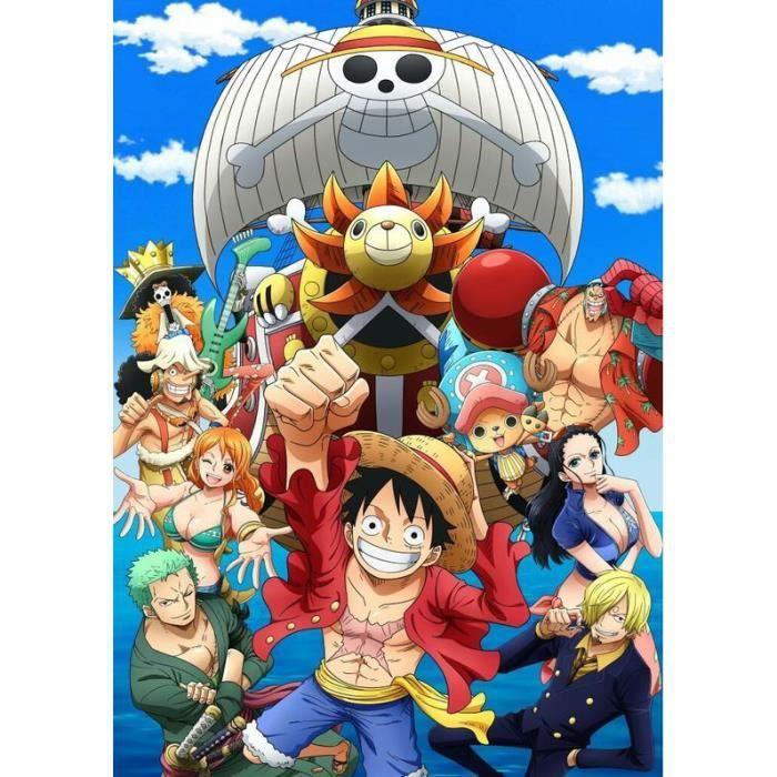 AB83 5D kit de peinture au diamant bricolage, dessin animé animation -One Piece- broderie au diamant, cadeau de décoration d