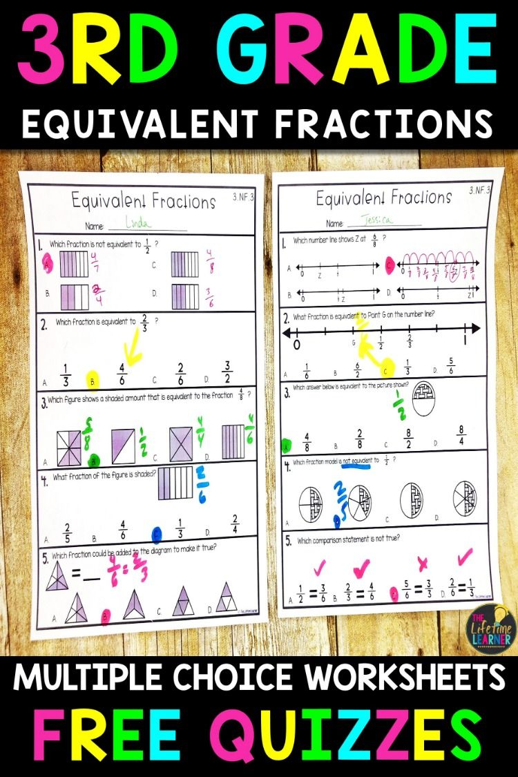 This Is A Free Sample Of Quizzes From My 3rd Grade Multiple Choice Math Worksheets Bundle The Bundle Comes Fractions Worksheets 3rd Grade Fractions Fractions [ 1125 x 750 Pixel ]