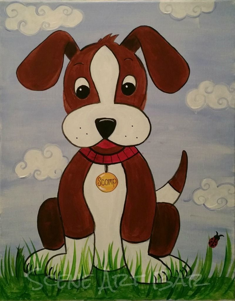 Step By Step Puppy Dog Acrylic Painting For Children Simple