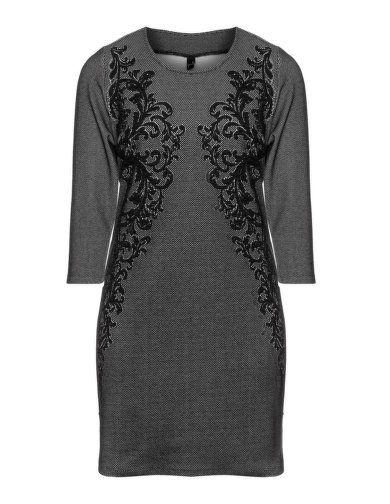 Jacquard cotton jersey dress by Yoek. Shop now: http://www.navabi.us/dresses-yoek-jacquard-cotton-jersey-dress-black-light-grey-21837-2431.html?utm_source=pinterest&utm_medium=social-media&utm_campaign=pin-it