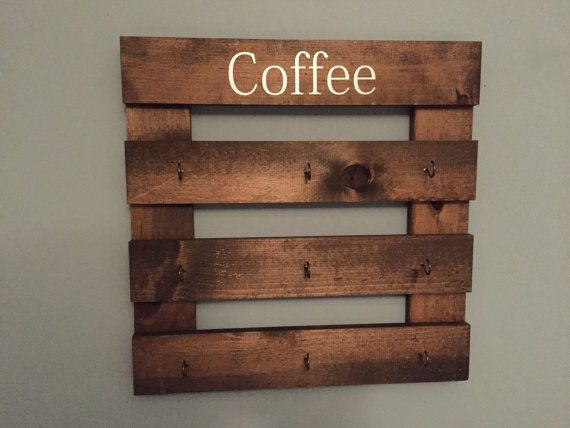Coffee mug holder rustic mug rack coffee cup display