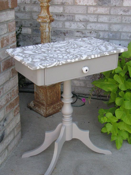 Small table with paisley stenciled top Tables