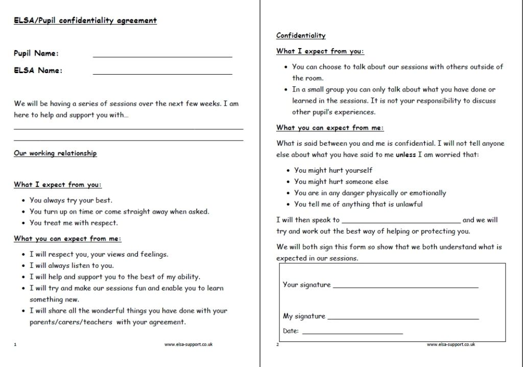 ELSA Agreement Elsa support Pinterest Literacy and Classroom - patient confidentiality agreements