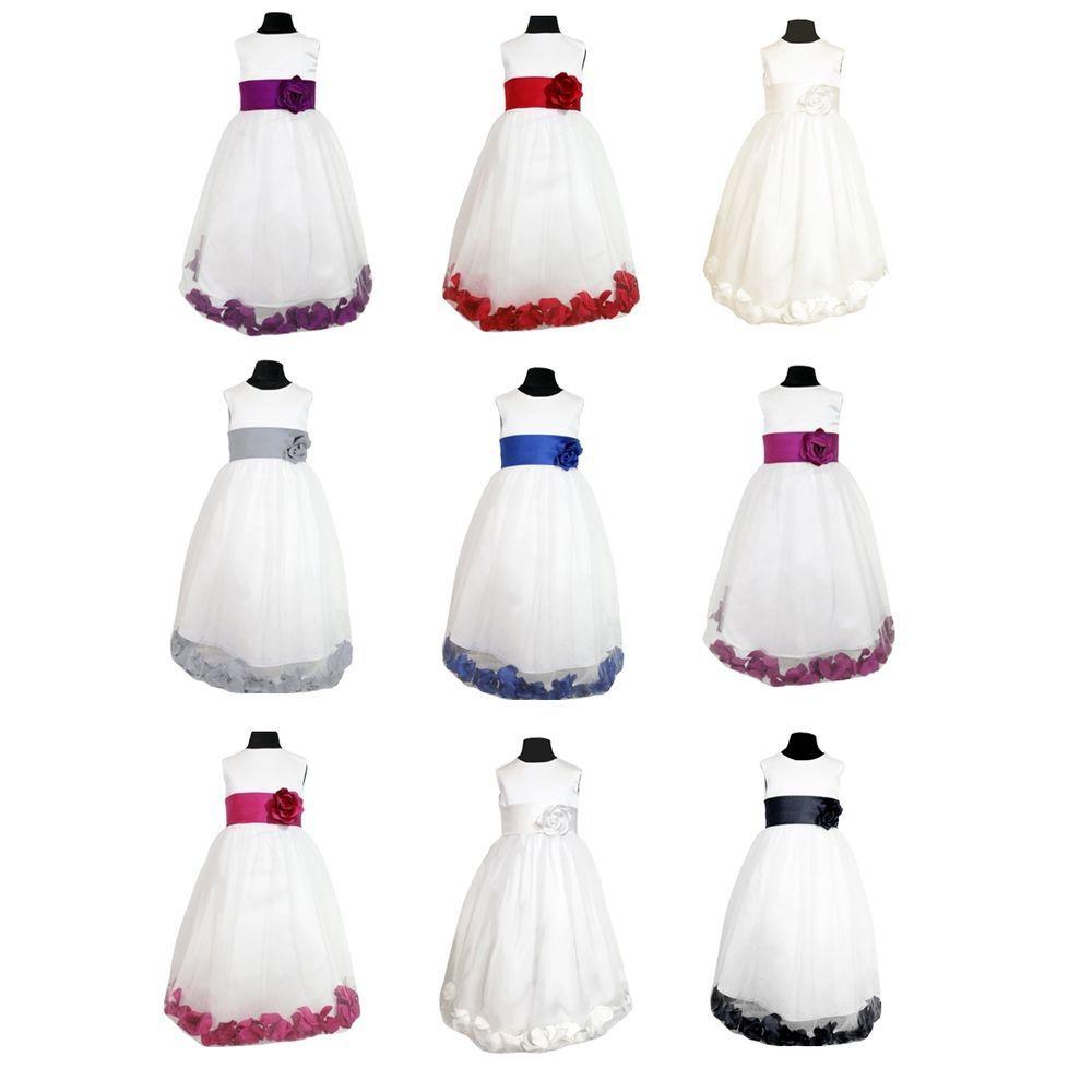 1b0dbc7cd174872f7ba00c41335dea0f details about flowergirl bridesmaid dress with sash & petals,Childrens Clothes Ebay Uk