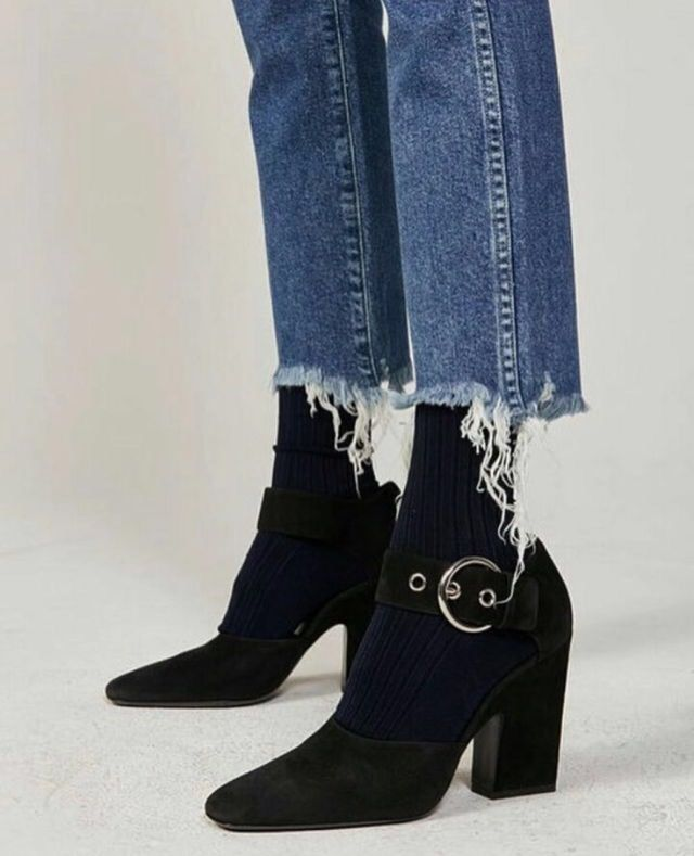 Black Boots Dark Blue Jeans
