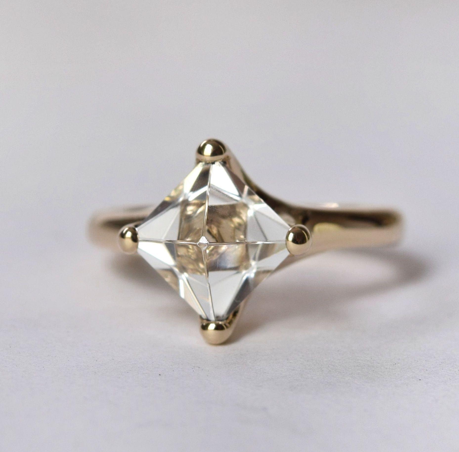 S Yamane Studio Custom Custom Cut Octahedron Topaz Ring
