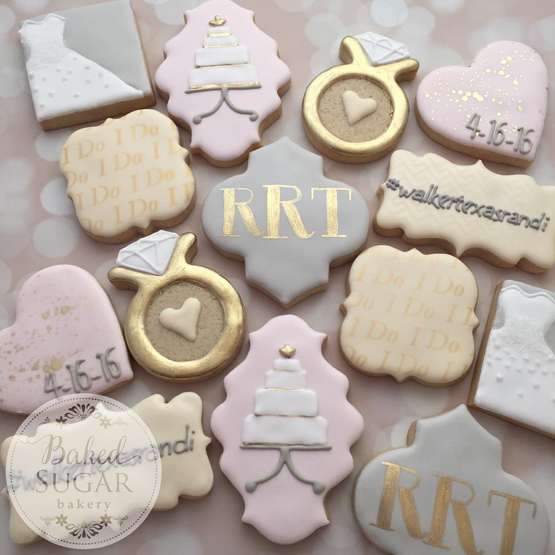 Bridal Shower Set Pink Grey Cream And Gold Cookiescupcake Cookiessugar