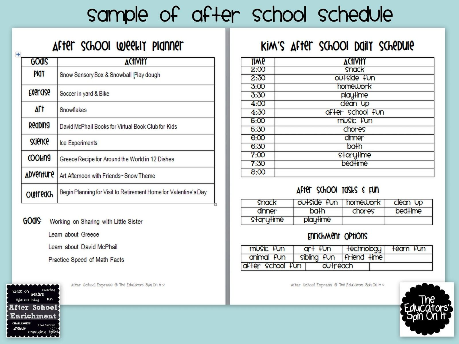 After School Weekly Planner