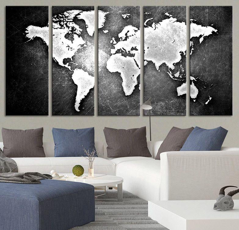 Black backgrounded white world map canvas print world map 5 piece black backgrounded white world map canvas print world map 5 piece ca gumiabroncs Images