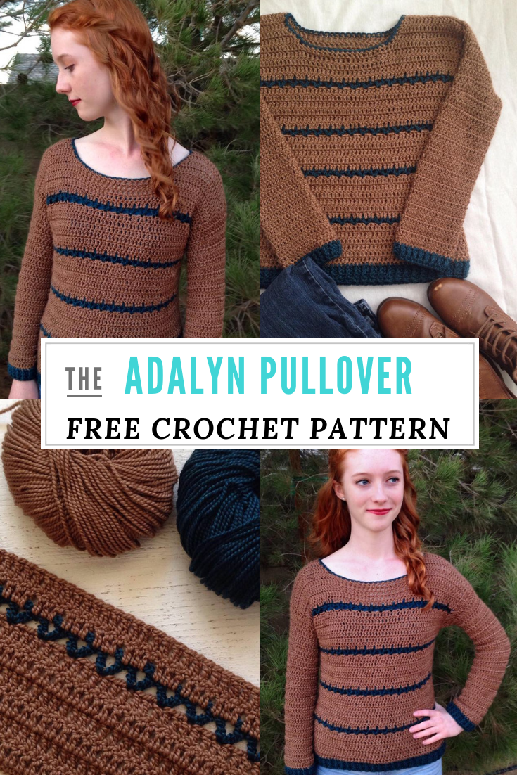 b588fb62df42e Free Crochet Pattern in S-3XL  the Adalyn Pullover! Make this beginner crochet  sweater out of 2 rectangles!  crochet  freecrochetpatterns  crochetlove ...