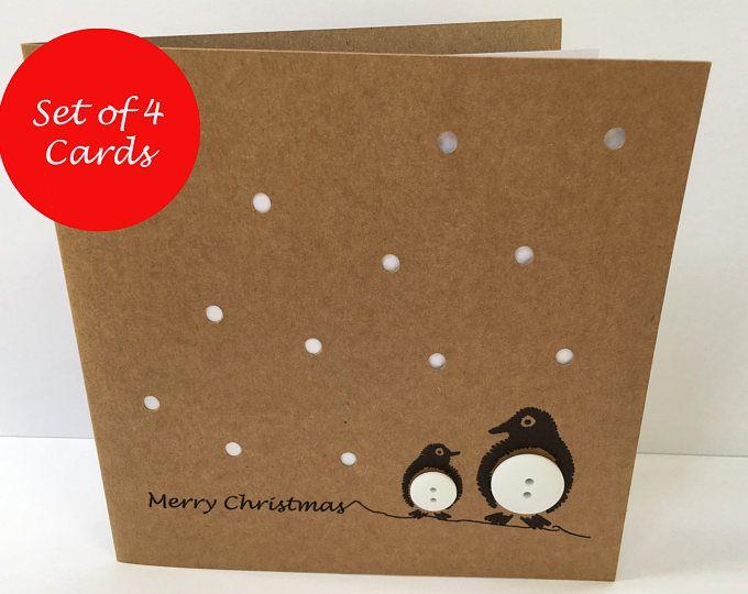 Set von 12 Weihnachtskarten - Knopf-Schneemann - Papier handgemachte Grußkarte - Weihnachtskarte - Weihnachtskarte Pack