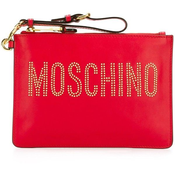 292f9190c6f5 Moschino stud embellished logo clutch ( 575) ❤ liked on Polyvore featuring  bags