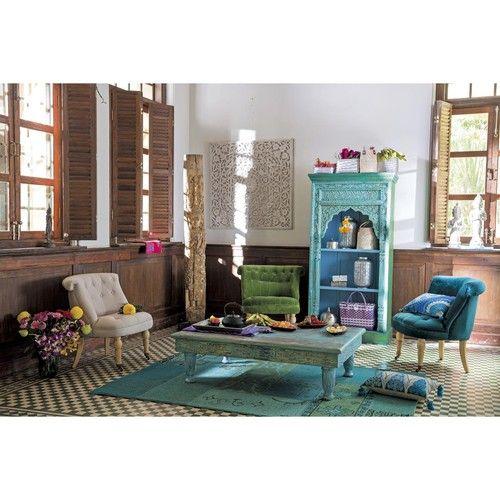 table basse en bois recyclé bleue effet vieilli l 122 cm   tables