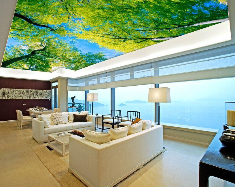 Pas Cher Grand Ciel Bleu 3d Papier Peint Plafond Murale Papier Peint