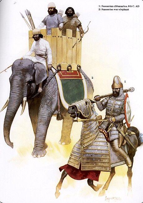 Catafracto sasánida acompañado de un elefante de guerra.