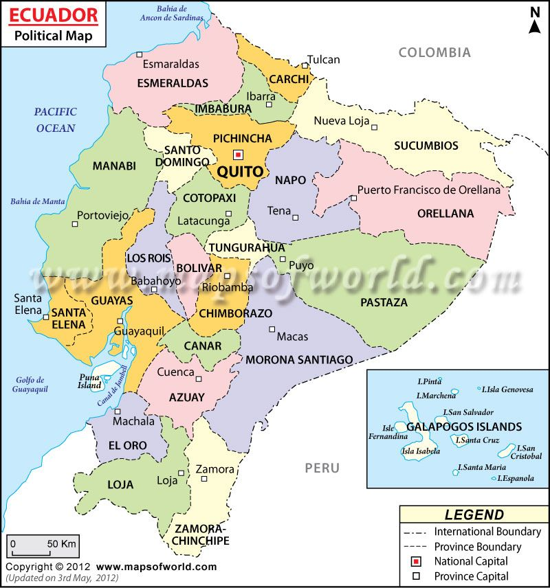 Ecuador Map of provinces with capitals Quiero regressar a Ecuador