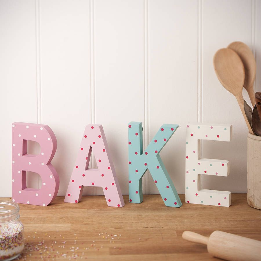 I love these colorful wooden letters they also make great for Kitchen letters decoration