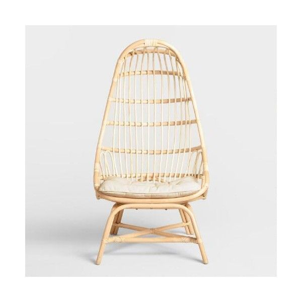 Natural Rattan Fallon Cocoon Chair With Cushion World Market ($230) ❤ Liked  On Polyvore