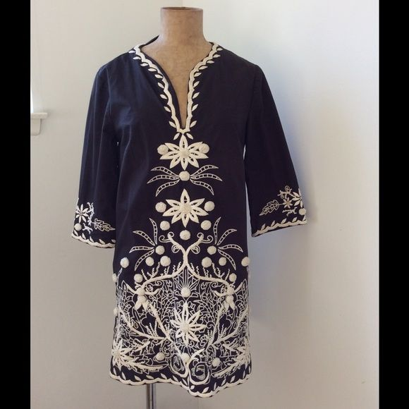 Cynthia Steffe Dress Stunningly embellished dress/tunic/ coverup.  Navy ground with white embellishments and Pom poms. Cynthia Steffe Dresses
